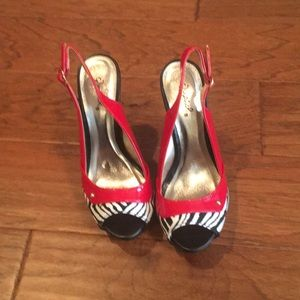 New Red and Zebra Striped Heels